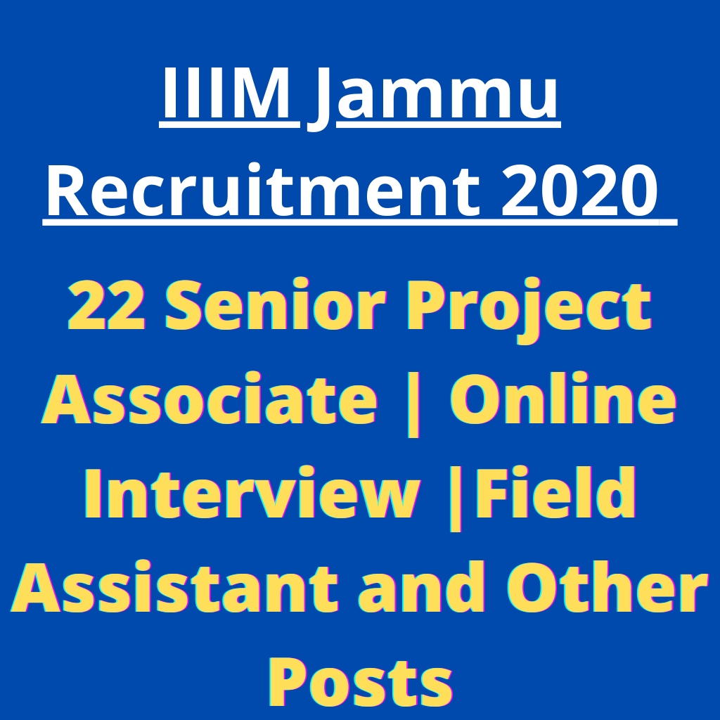 IIIM Jammu Recruitment 2020